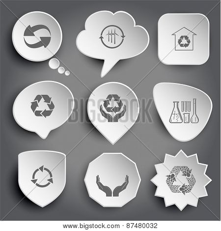 recycle symbol, wind turbine, protection of nature, chemical test tubes, human hands. White raster buttons on gray.