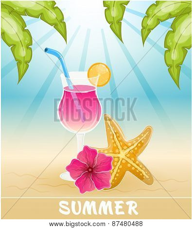 Seascape vector illustration. Paradise beach. Beach Bar poster