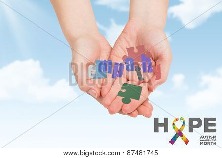 Hands presenting against blue sky