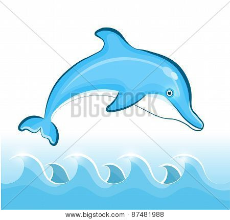 Swimming Dolphin. Vector illustration.