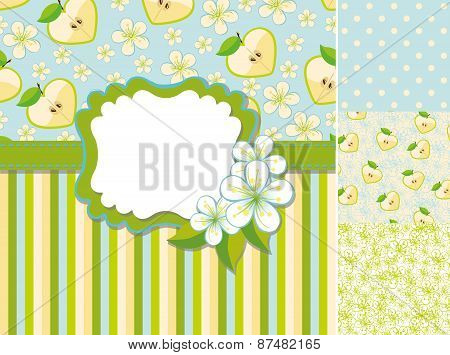 Spring template.Label,apple,flowers,pattern background set