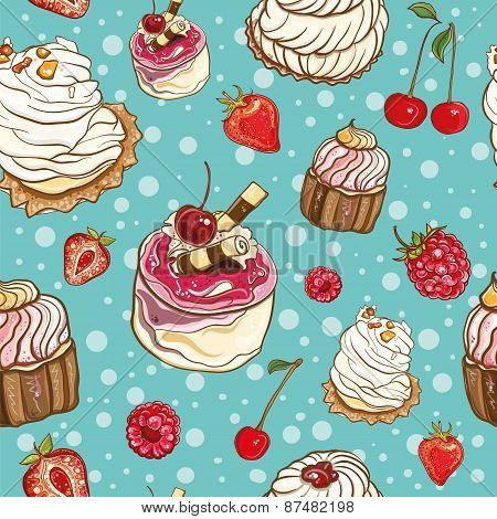 Seamless Pattern With Cakes And Berries