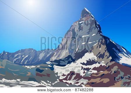 Alps Matterhorn mountain summer landscape
