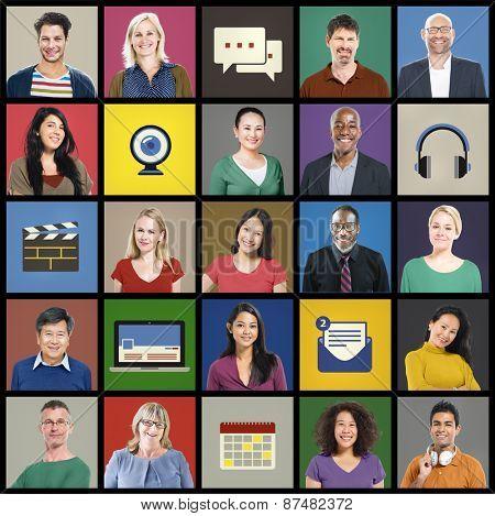 People Diversity Community Faces Multiethnic Group Concept