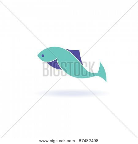 Vector illustration of abstract blue fish. Abstract fish logo for seafood restaurant or fish shop/
