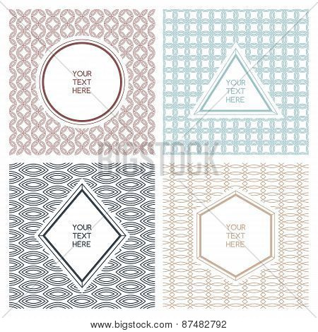 Vector Set Of Simple Abstract Frame And Seamless Pattern. Line Badges And Labels Background With Pla