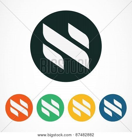 Vector Logo Design Template. Abstract Letter N In Colorful Circles. Business Technology Concept Symb