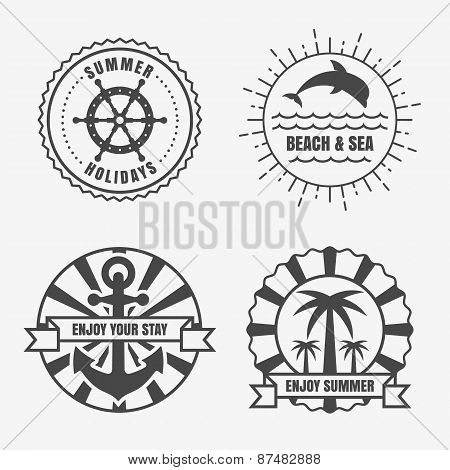 Set Of Sea And Summer Nautical Signs, Badges And Labels. Vector Line Illustration Of Anchor, Sun, Do