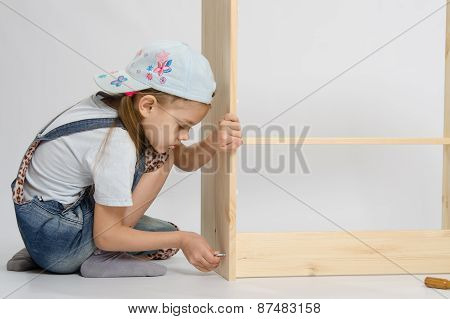 Little Girl In Overalls Collector Furniture Screw Spins