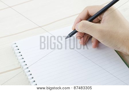 Hand Write On The Notebook