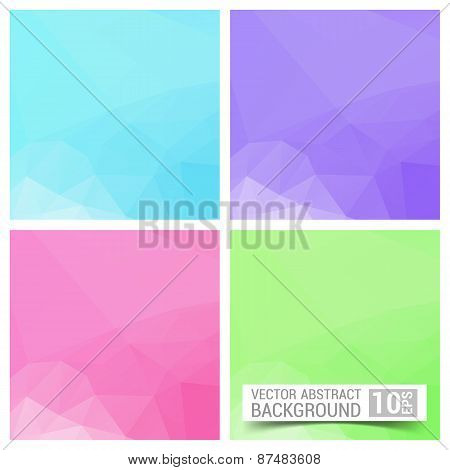Set Of Four Colorful Abstract Geometric Background With Place For Your Text