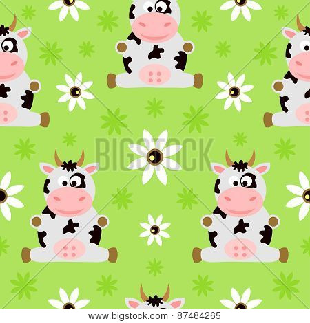 Seamless background cartoon with cow