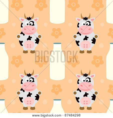 Seamless background  with cow