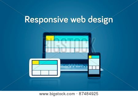 Responsive Web Design Layout On Different Devices. Set On Dark Background