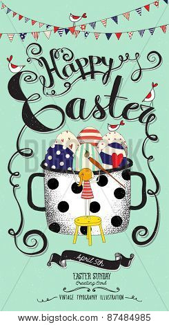 Easter Greeting Card - Full pot of colorful Easter eggs, painted by a blond girl on a footstool, with bunting, birds and handwritten Happy Easter message, hand drawn, whimsical illustration