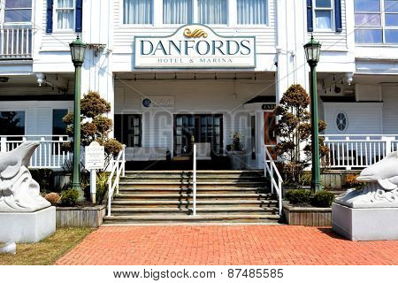 PORT JEFFERSON, NY - April 6, 2015: Danfords Hotel and Marina main entrance. On Long Island Sound estuary this upscale property features a spa, seafood restaurant and marina.