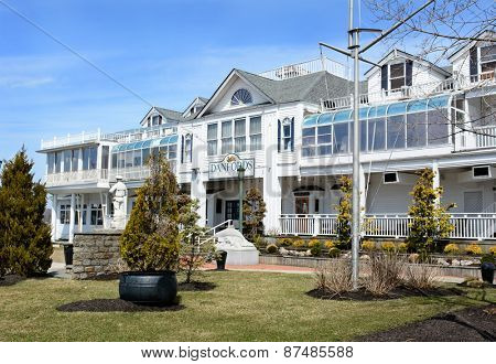 PORT JEFFERSON, NY - April 6, 2015: Danfords Hotel and Marina. The upscale accommodations on Long Island Sound estuary features a spa, seafood restaurant and marina.