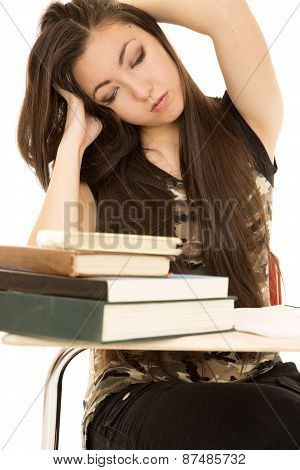 Tired Girl Student Eyes Closed Hands In Her Hair