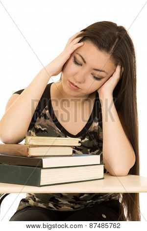 Frustrated Female Student Looking At Book Pile On Desk