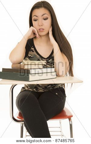Female Student Sitting Looking At A Book Pile