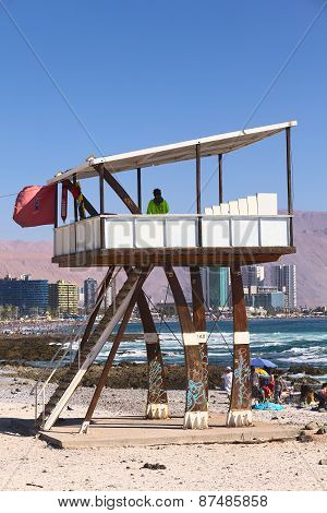 Lifeguard Watchower on Cavancha Beach in Iquique, Chile