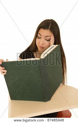 Female Student Reading A Big Book Falling Asleep