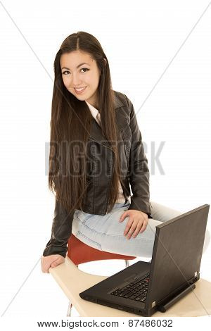 Cute Asian American School Girl Wearing A Leather Jacket
