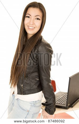 Attractive Teen Girl Leaning On Desk By Computer