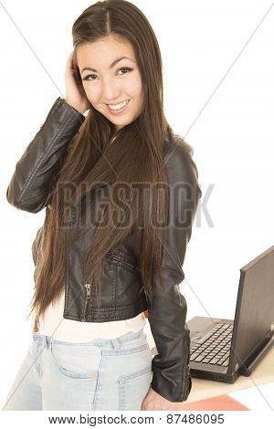 Cute Asian American Teen Girl By Her Computer Posing
