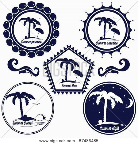 Set of badges for summer beach, summer paradise, place for rest, hotel, cafe, etc.