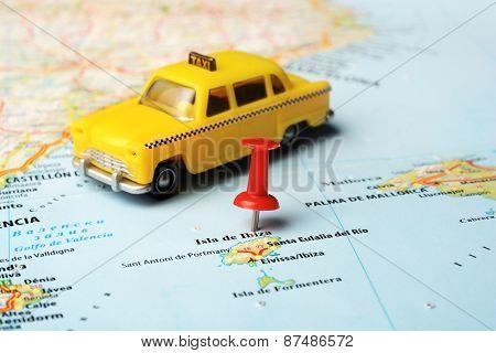 Ibiza   Island ,spain Map Taxi Car