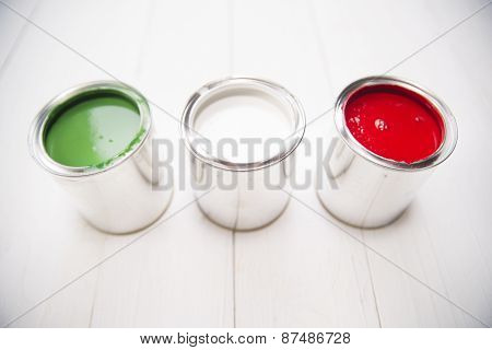 Three Paint Cans