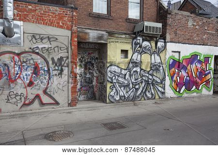 grafitti walls in Kensington Market Toronto