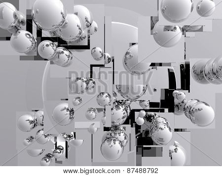 3D abstract illustration with various spheres