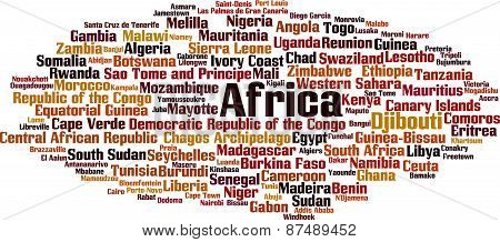 Countries In Africa Word Cloud