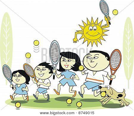 Happy family tennis cartoon