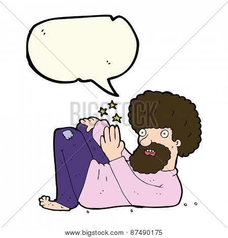 cartoon hippie man with speech bubble