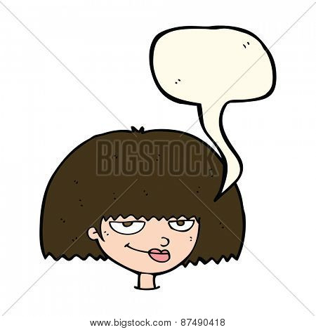 cartoon mean female face with speech bubble