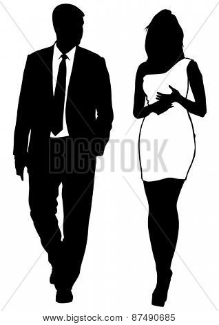Businessman in suit and women on white background