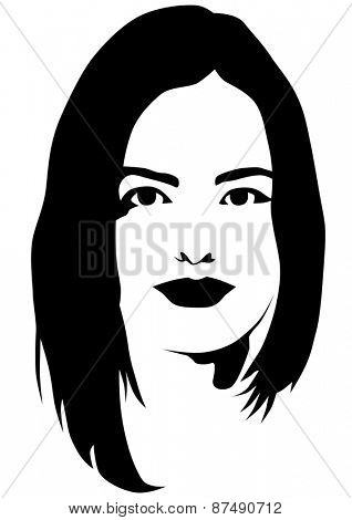 Face and hair of a beautiful woman on a white background