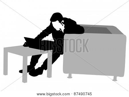 Businessman at his desk with a computer on a white background