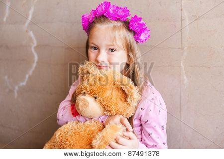 Close up portrait of adorable little girl