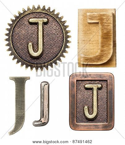 Alphabet made of wood and metal. Letter J