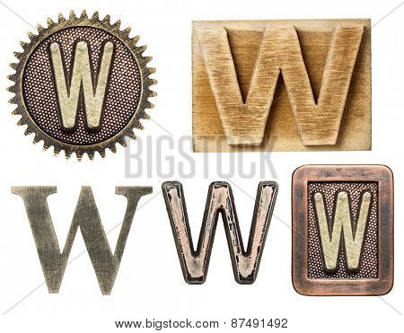 Alphabet made of wood and metal. Letter W