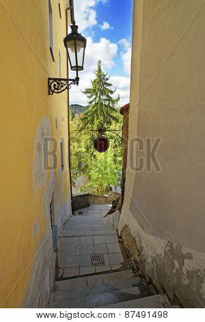 Narrow Stairs Street In Cesky Krumlov