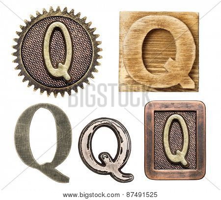 Alphabet made of wood and metal. Letter Q