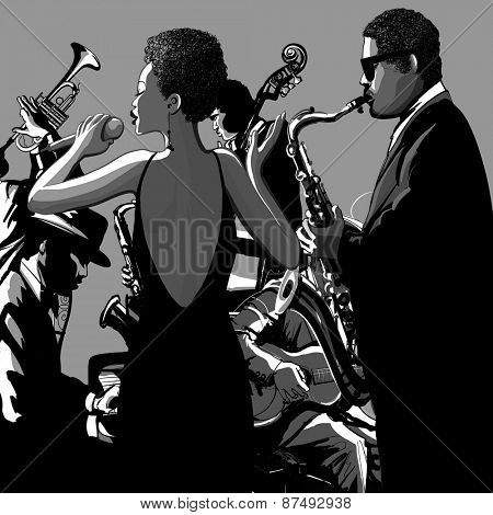 Jazz band with singer, saxophone, double bass and piano - Vector illustration
