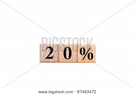 Twenty Percent Symbol Isolated On White Background With Copy Space