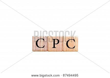 Acronym Cpc - Cost Per Click Isolated On Black Background With Copy Space