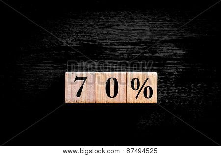 Seventy Percent Symbol Isolated On Black Background With Copy Space